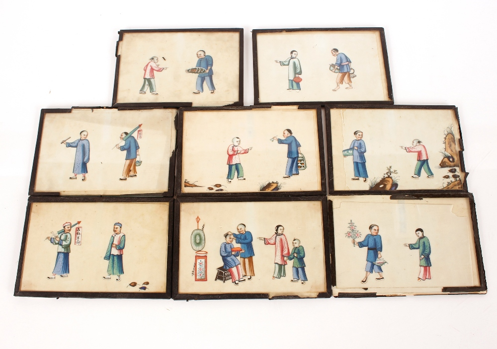 Fourteen 19th Century Chinese paintings on pith or rice paper,depicting domestic and rural