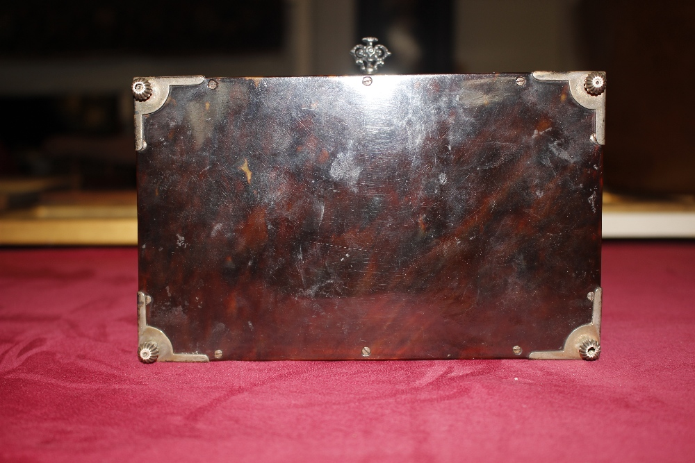 A 19th Century tortoiseshell and white metal mounted trinket casket,having pierced foliate and - Image 7 of 19