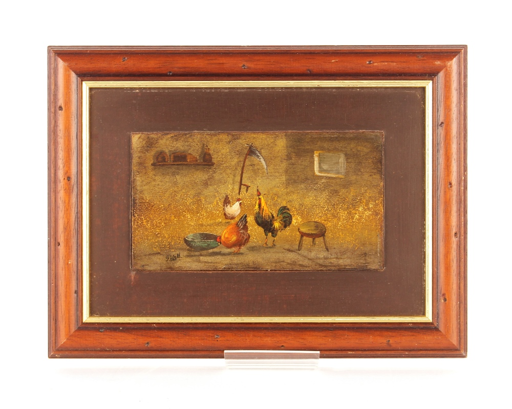S. Alett,study of poultry in a stable setting, oil on panel mounted, 10cm x 18cm