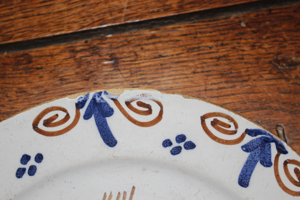 A rare early 18th Century English Delftware dish,painted with a stylised hare with a squirrels - Image 4 of 7