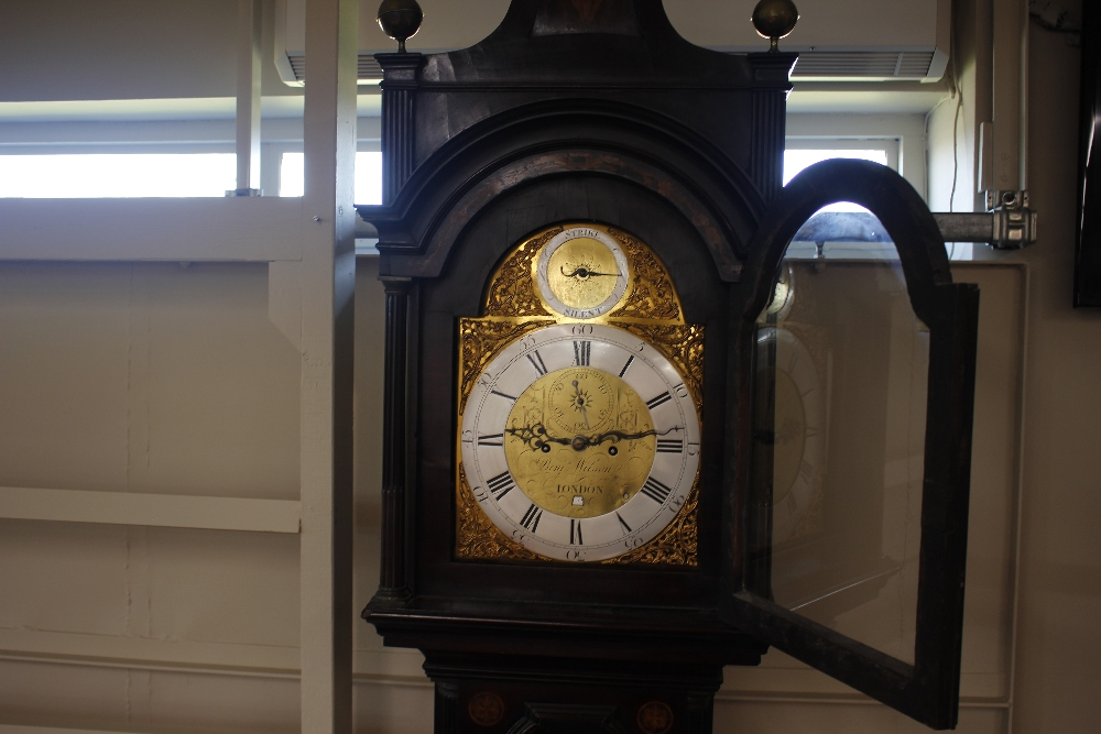 A George III and later marquetry inlaid mahogany long case clock,the domed hood with three brass - Image 7 of 7