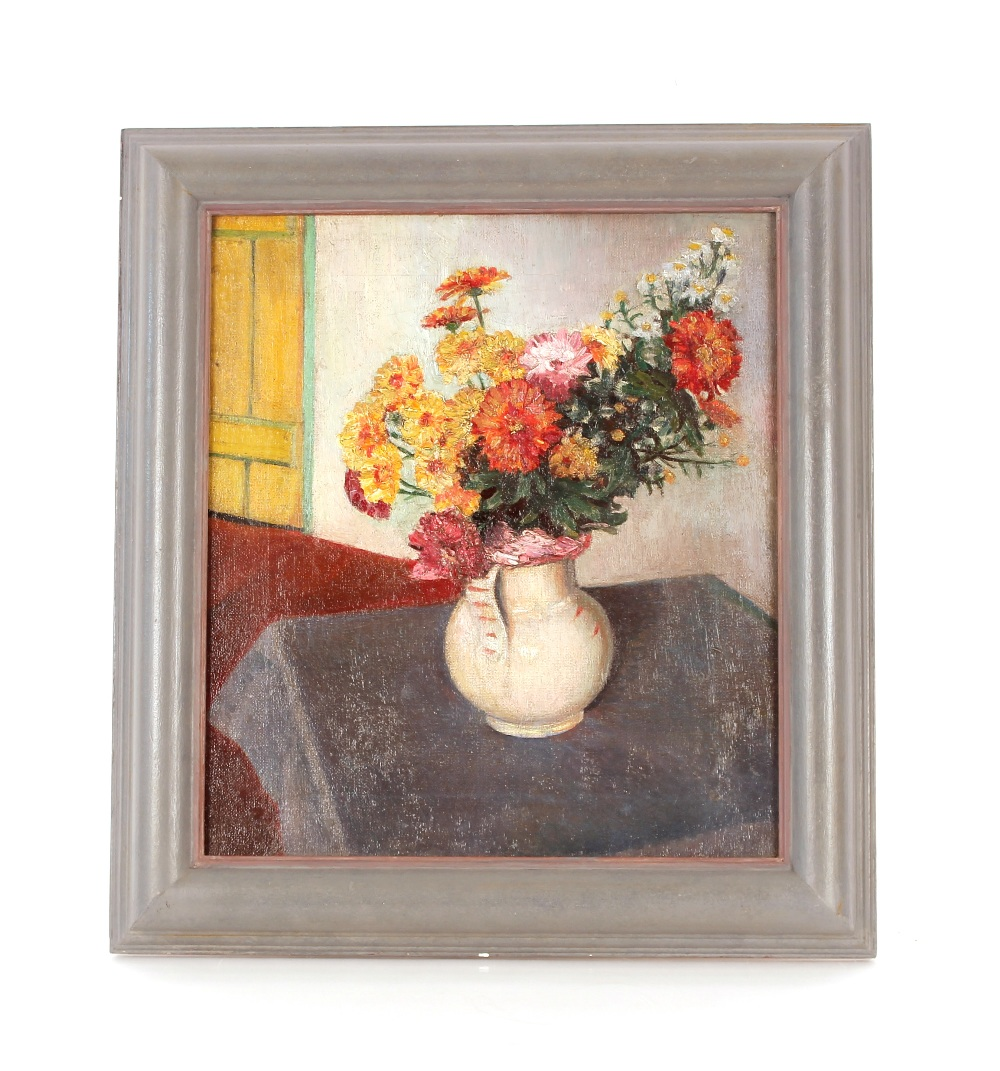 """Margaret (Peggy) Angus,""""Flowers In A White Jug"""", oil on canvas label verso, 40cm x 34cm NB. - Image 2 of 2"""
