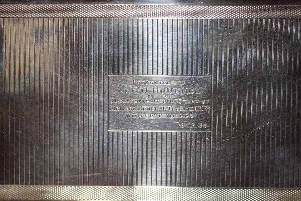 """A silver cigarette case, with inscription to """"Mr H - Image 6 of 7"""