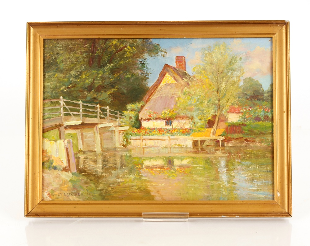 """Sidney A Driver,""""Tranquil Summer River"""" with a wooden bridge and cottages, signed and dated 1933, - Image 2 of 2"""