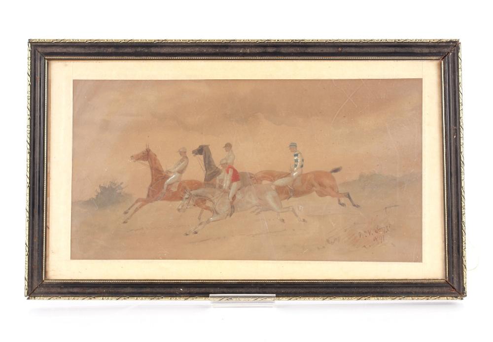 William Verner Longe 1857-1924,steeple chasing scene signed watercolour dated 1891, 19cm x 36cm