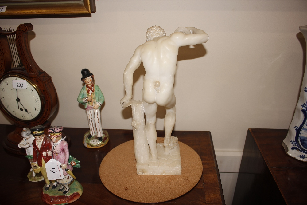 A pair of 19th Century alabaster figures,depicting athletes, 35cm high - Image 7 of 18