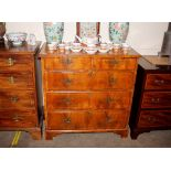 An 18th Century style walnut cross banded and boxwood strung chest,of two short and three long