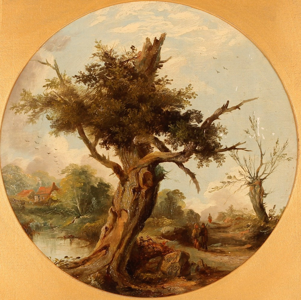 S. Day, travellers passing an old oak tree, signed and dated 1857, oil on canvas, tondo 28.5cm - Image 2 of 2
