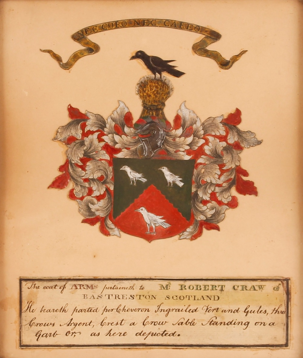 A framed and glazed coat of arms,pertaining to Robert Craw of Eastreston, Scotland, 22cm x 18cm - Image 2 of 2