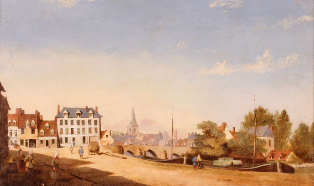 19th Century school,study of a continental canal scene with boats, figures and buildings, 34cm x - Image 2 of 2