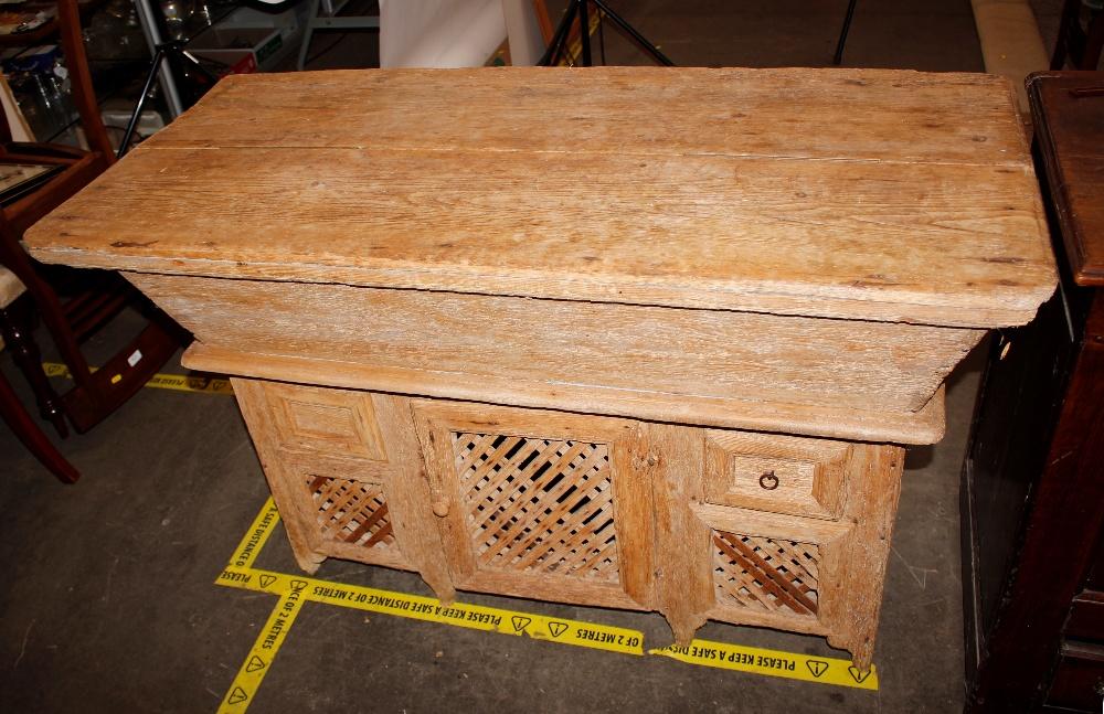 An unusual antique pine doughbin / food hutch,116cm wide x 58cm deep x 78cm high