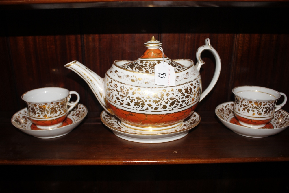 A Chamberlains Worcester part tea service,circa 1810, comprising teapot, tea and coffee cups and - Image 4 of 6