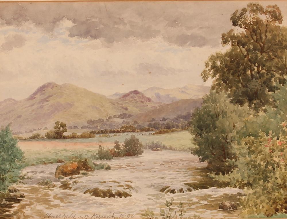 """Louis Pinhorn Wood,exhibited 1870-1891, """"Three Keld Near Keswick 1890"""", label verso, pencil"""