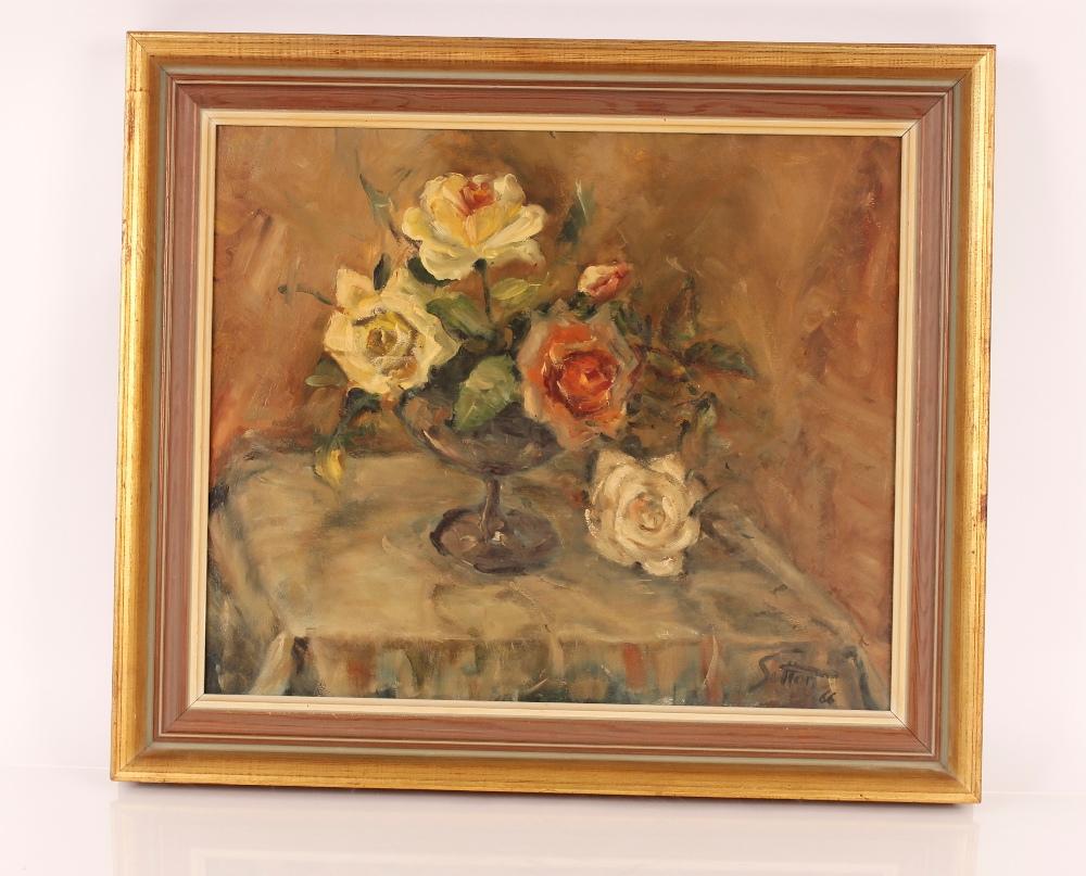 "Leonard F Sutton, ""Herne Hill"" signed oil on board, 48cm x 58cm - Image 2 of 2"