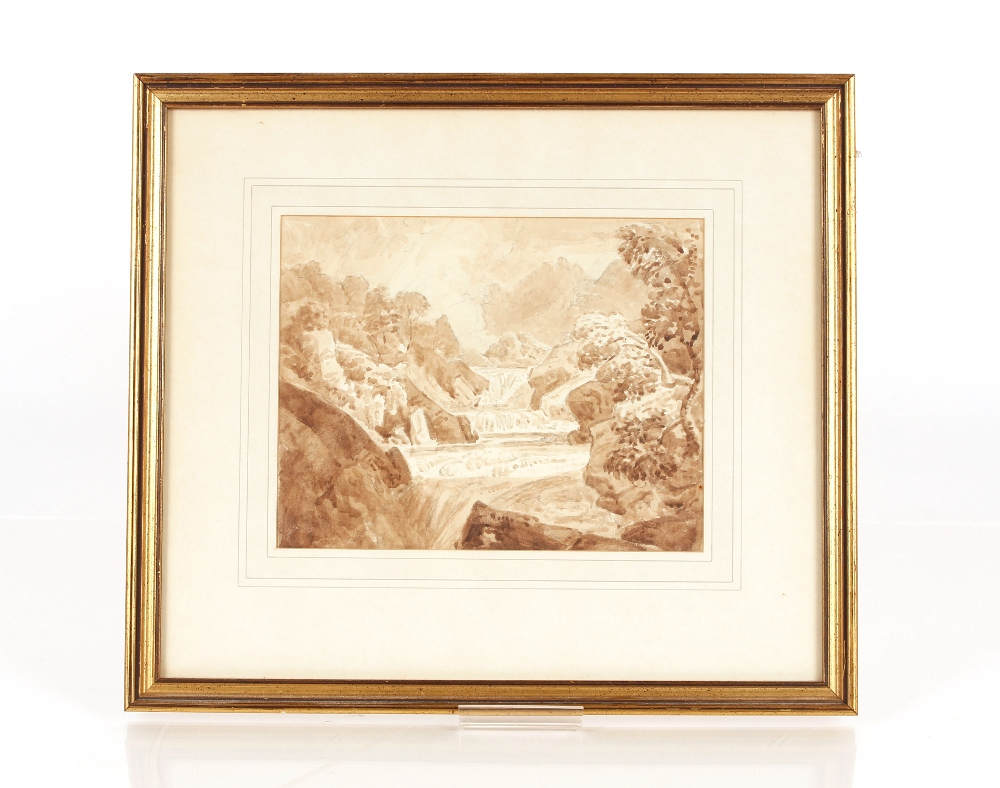 Attributedto J Curstall 1767-1847,study of a waterfall, unsigned pencil and watercolour, 19cm x - Image 2 of 9