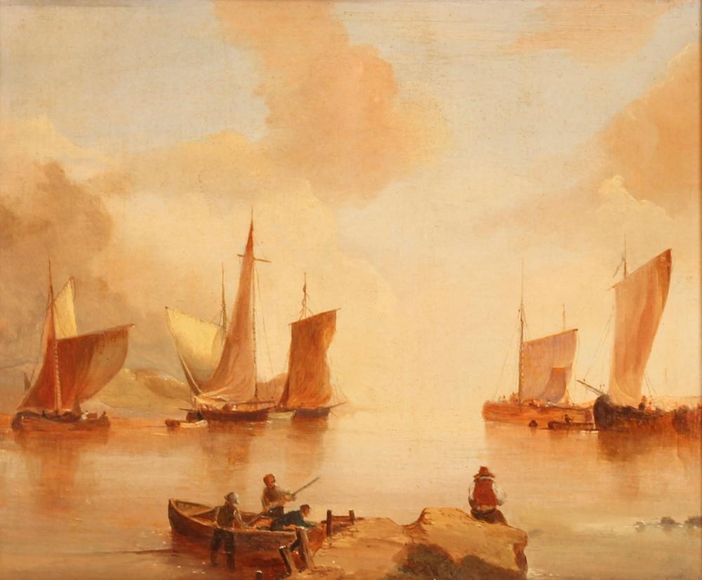 Andre De Moller, Suffolk coastal scene oil on canvas with dedication verso, 24.5cm x 29cm - Image 2 of 4