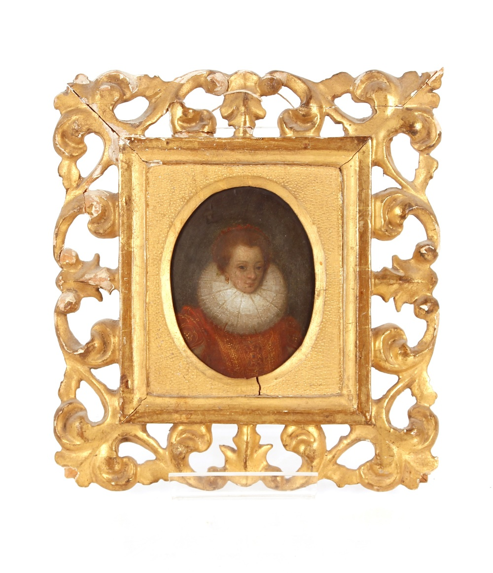 A pair of 18th Century miniature portraits, possibly Elizabeth I and Walter Raleigh contained in