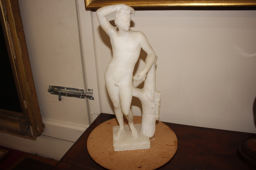 A pair of 19th Century alabaster figures,depicting athletes, 35cm high - Image 11 of 18