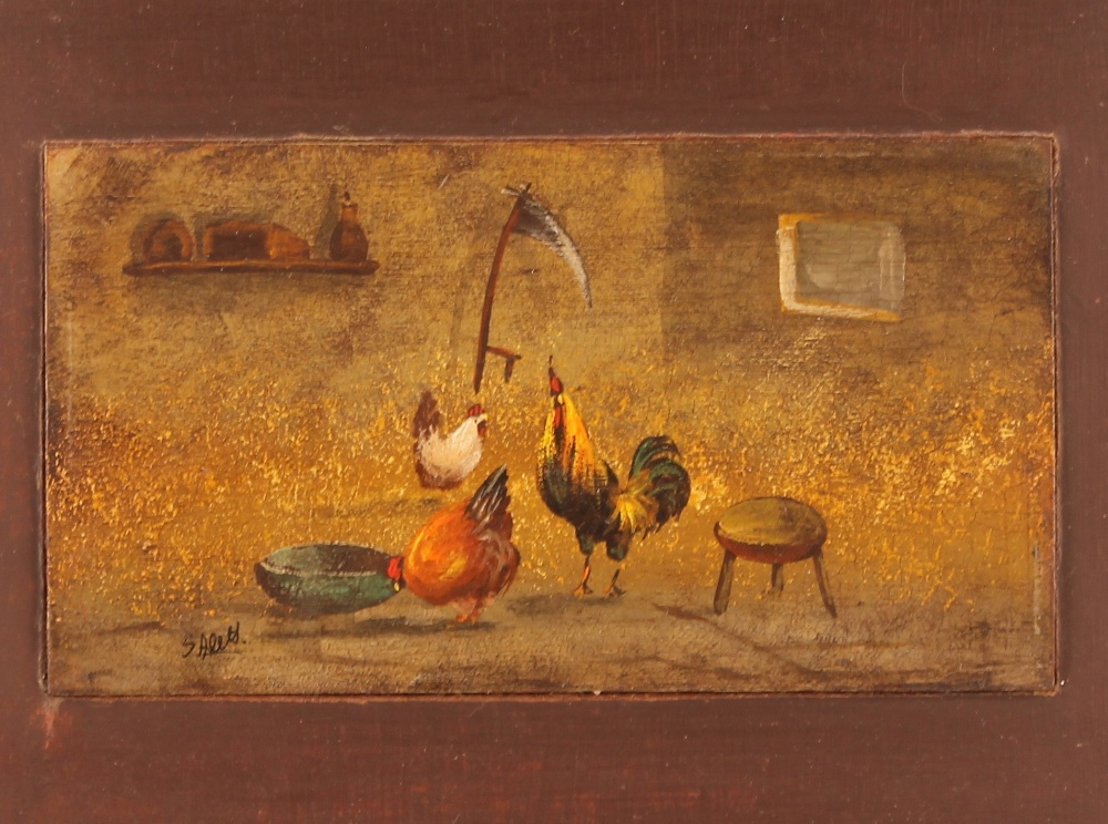 S. Alett,study of poultry in a stable setting, oil on panel mounted, 10cm x 18cm - Image 2 of 2