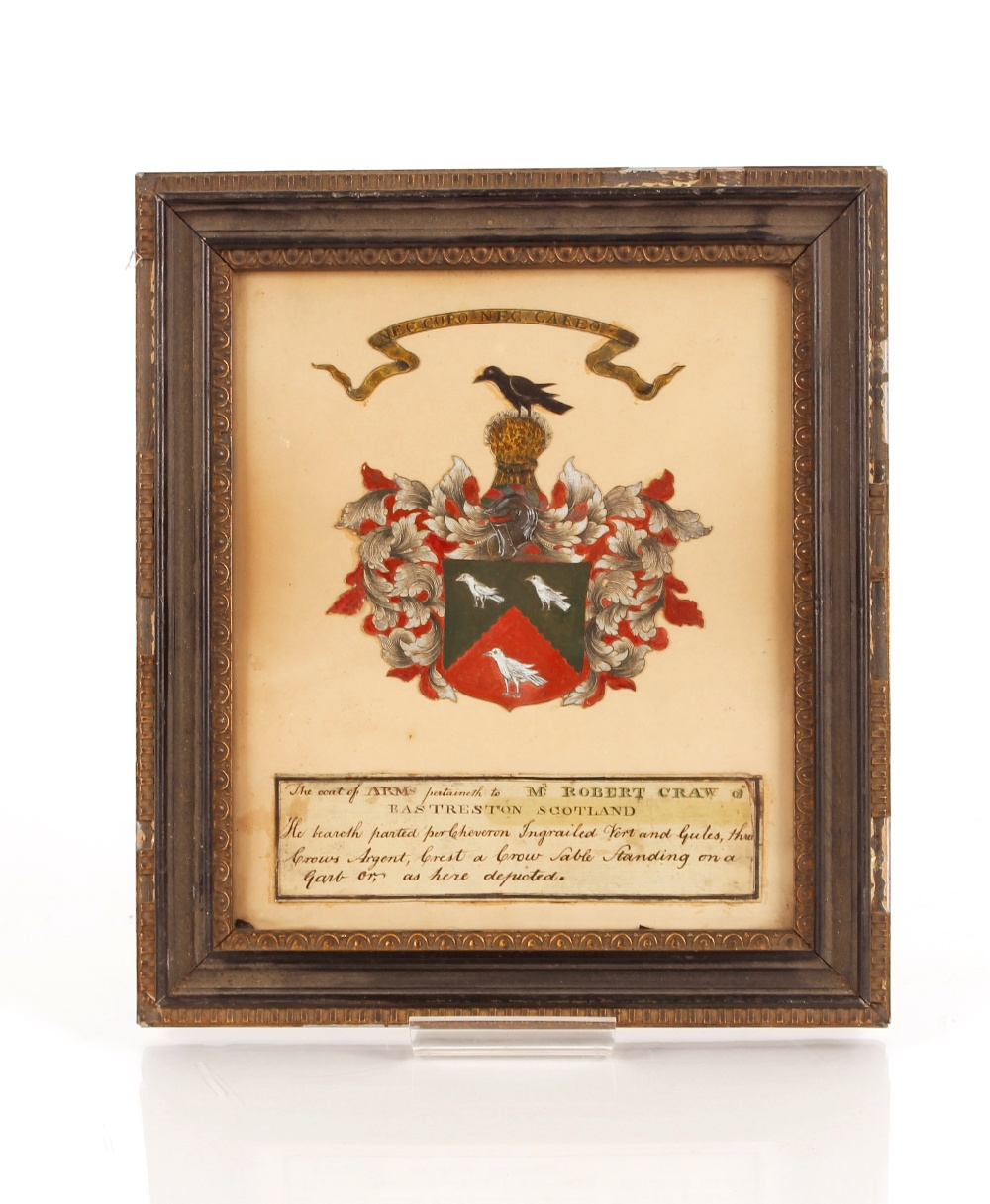 A framed and glazed coat of arms,pertaining to Robert Craw of Eastreston, Scotland, 22cm x 18cm