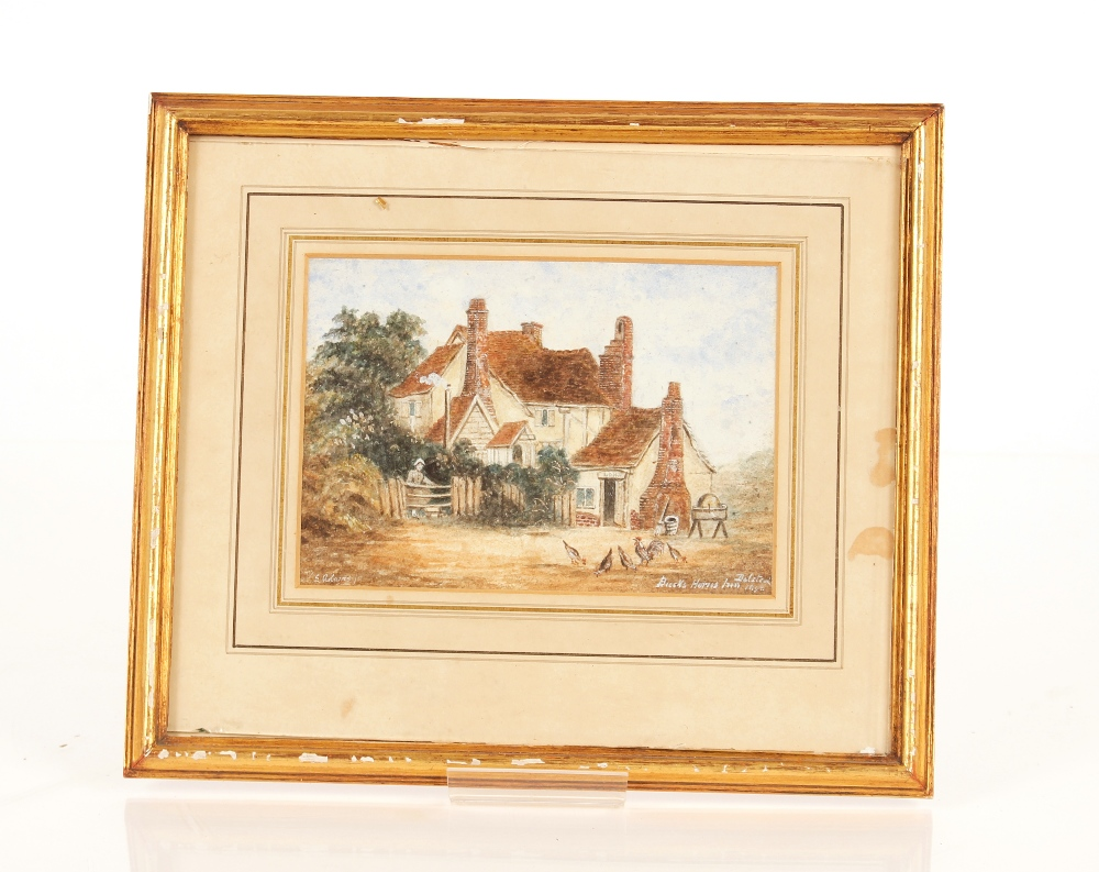 E. Adams, Suffolk school watercolour of The Bucks Horn in Belstead, signed 13cm x 18cm; and - Image 3 of 3