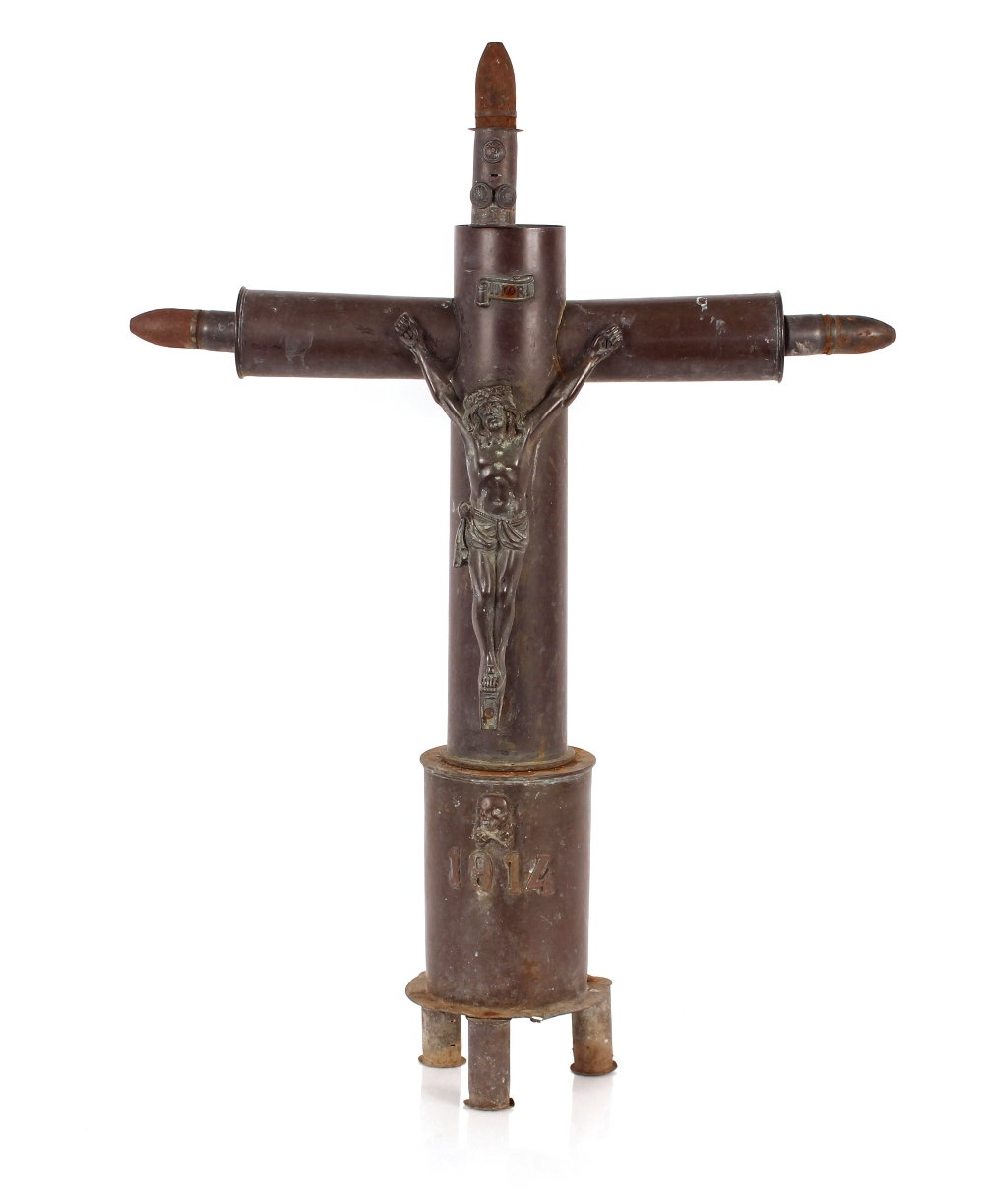 A rare and unusual Trench Art memorial crucifix,dated 1914 made from WW1 shell cases etc. inscribed