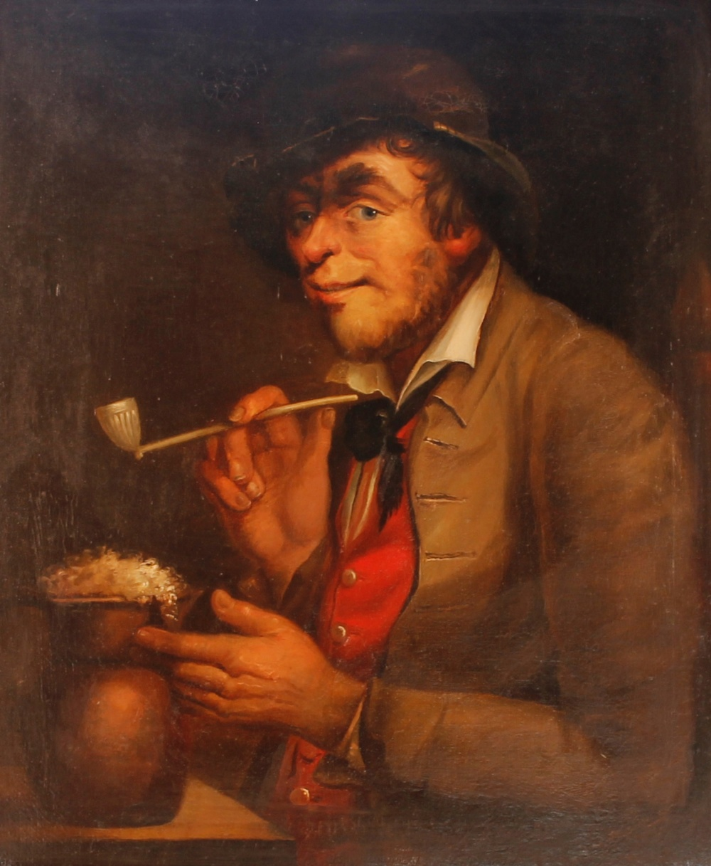Continental school, study of man with clay pipe and foaming flagon of ale, unsigned oil on canvas,