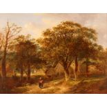 19th Century Suffolk school,Study of woman and child walking along a country path, farm and