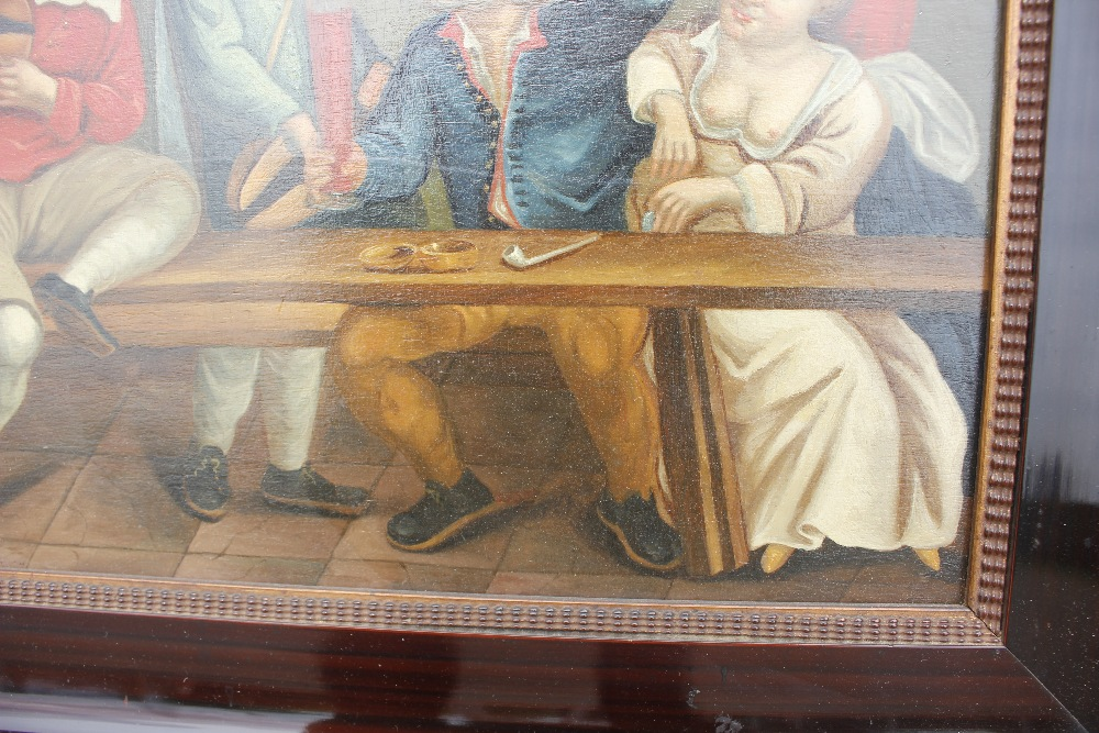 Dutch school late 17th / early 18th Century scene,of a bawdy tavern interior, unsigned oil on - Image 5 of 9