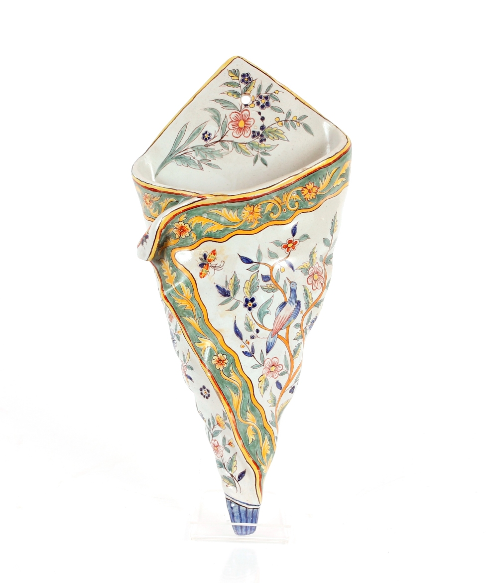 A Faienceware Cornucopia shape hanging wall posy holder,with bird and floral decoration, 32cm