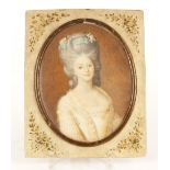 """Attributed to Angelica Kauffman, miniature portrait study of a lady, inscribed verso """"Duchess D'York"""