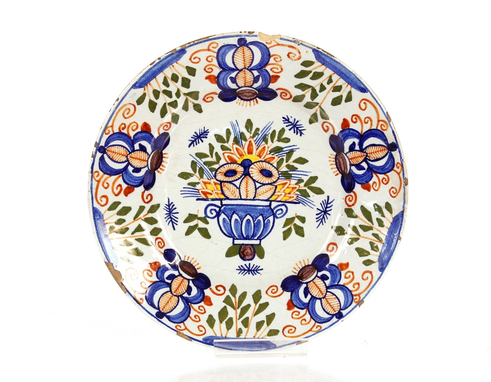 A pair of Delft plates decorated flowers,23cm dia. AF - Image 2 of 2