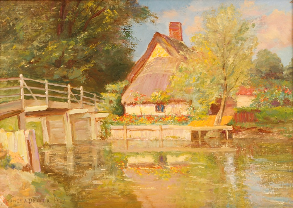 """Sidney A Driver,""""Tranquil Summer River"""" with a wooden bridge and cottages, signed and dated 1933,"""