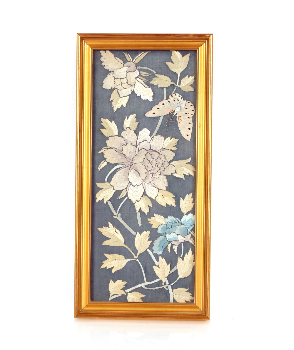 An Oriental embroidered silk work panel,depicting flowers and butterfly, 39cm x 16cm; and another - Image 2 of 2