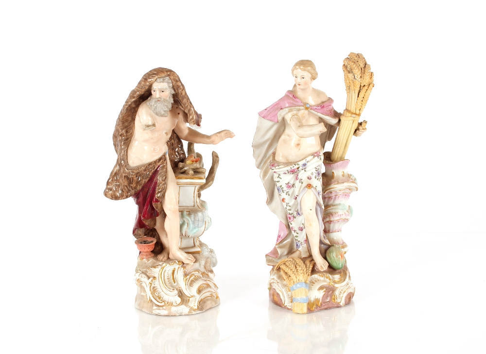 A Meissen porcelain group, depicting Summer season, another of winter AF and restored, and a pair of - Image 2 of 2