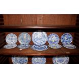 A collection of various small 19th Centuryblue and white transfer printed plates, including Ridgway