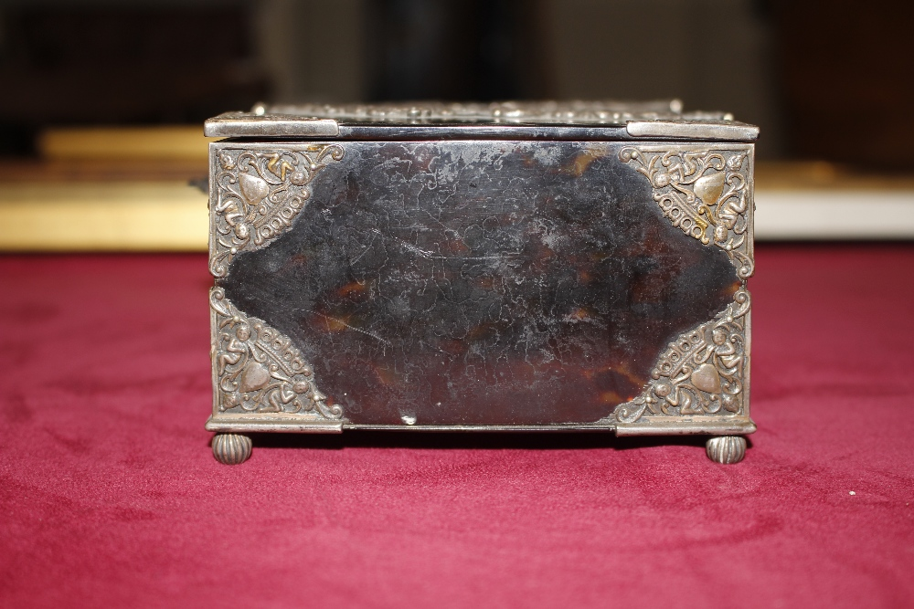A 19th Century tortoiseshell and white metal mounted trinket casket,having pierced foliate and - Image 4 of 19