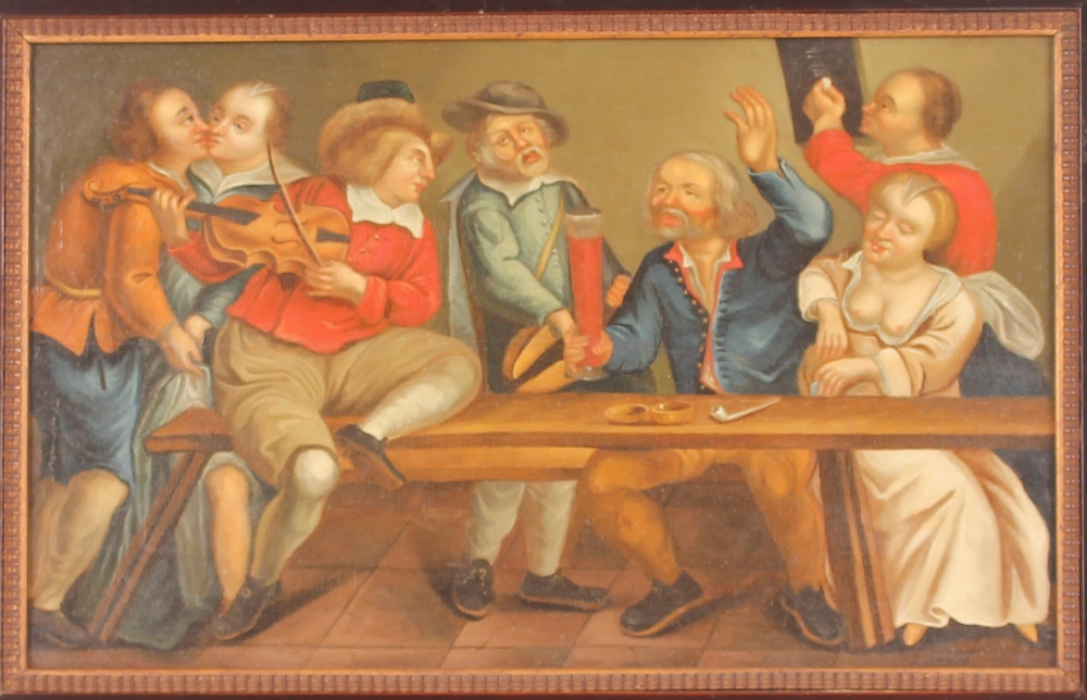 Dutch school late 17th / early 18th Century scene,of a bawdy tavern interior, unsigned oil on