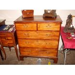 A 19th Century mahogany chest,of two short and three long drawers cut in two sections and raised on