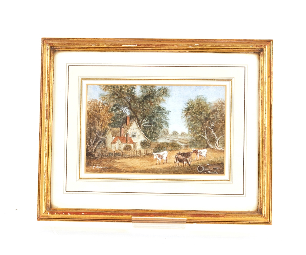 E. Adams, Suffolk school watercolour of The Bucks Horn in Belstead, signed 13cm x 18cm; and - Image 2 of 3
