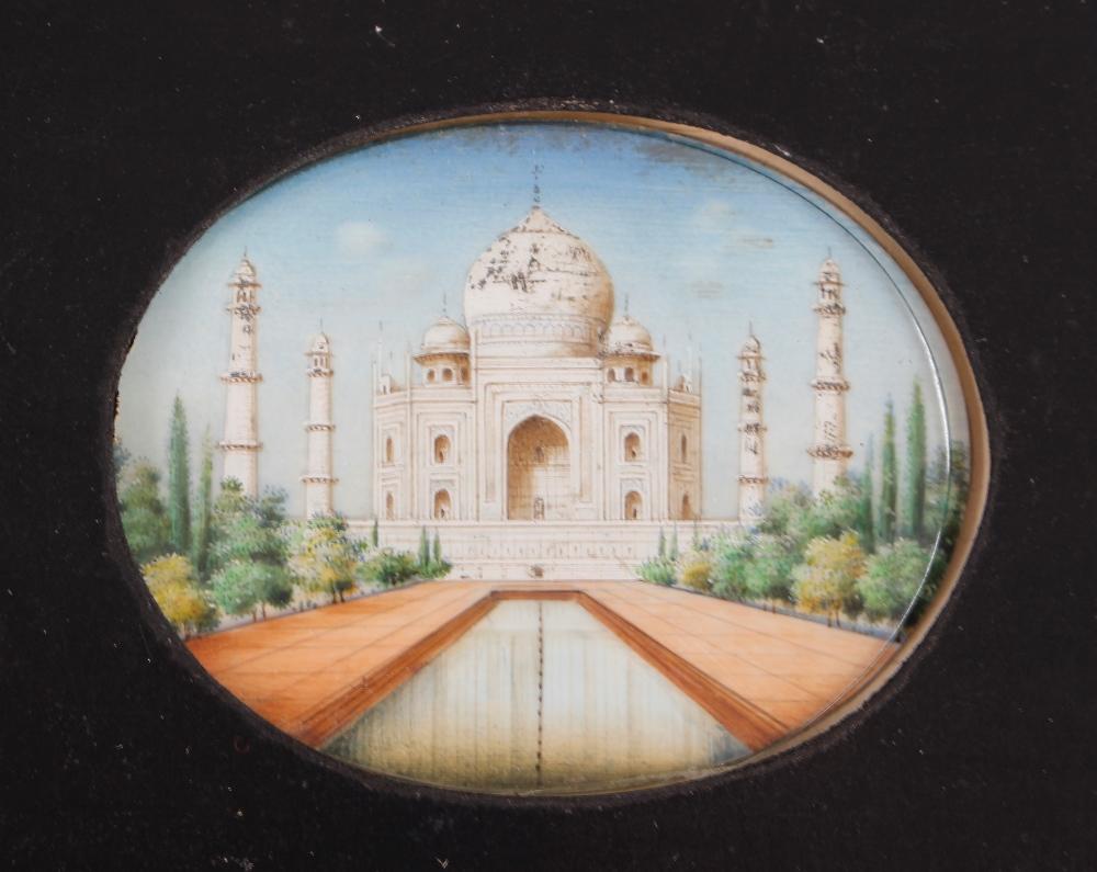 Two Indian oval miniature portraitsof the Taj Mahal,framed as one - Image 3 of 3