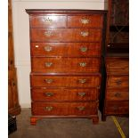 A George III mahogany chestof chest, the upper section fitted two short and three long drawers