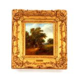 """Robert Burrows 1810-1883,""""The Tryst"""", signed oil on board, 17.5cm x 15cm"""