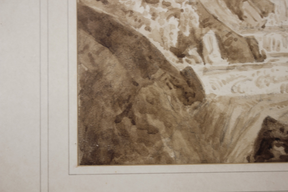 Attributedto J Curstall 1767-1847,study of a waterfall, unsigned pencil and watercolour, 19cm x - Image 6 of 9