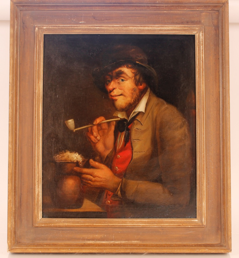 Continental school, study of man with clay pipe and foaming flagon of ale, unsigned oil on canvas, - Image 2 of 2