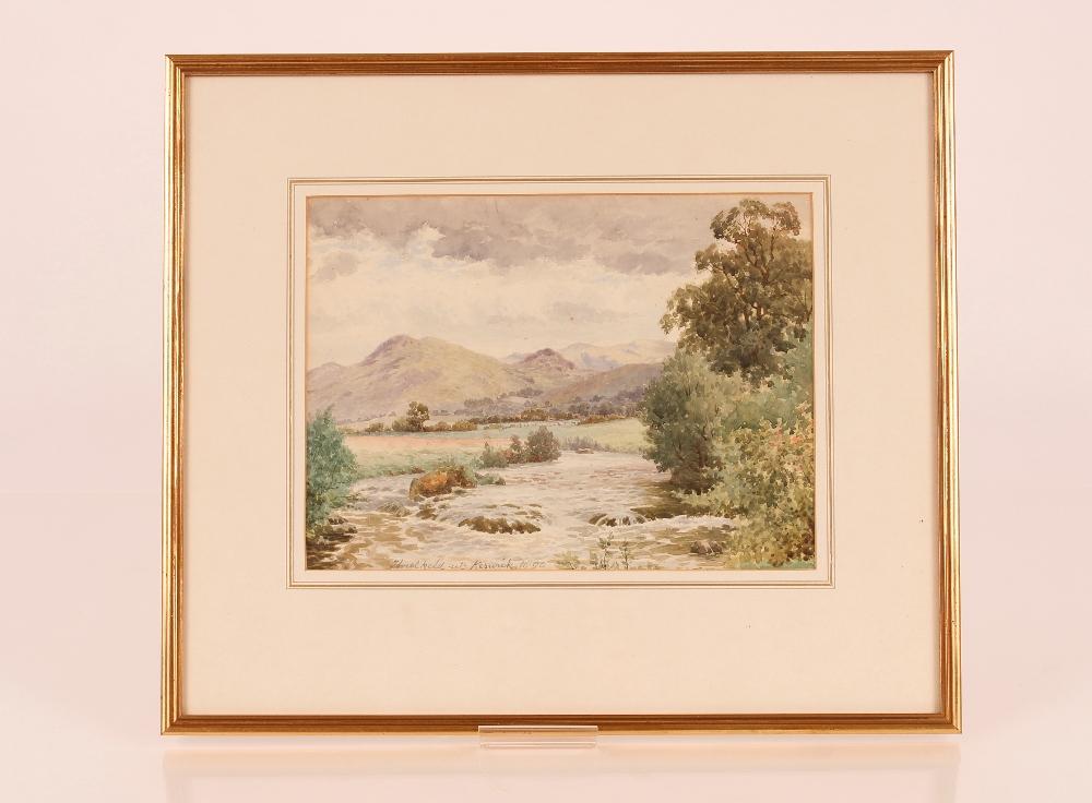 "Louis Pinhorn Wood,exhibited 1870-1891, ""Three Keld Near Keswick 1890"", label verso, pencil - Image 2 of 2"