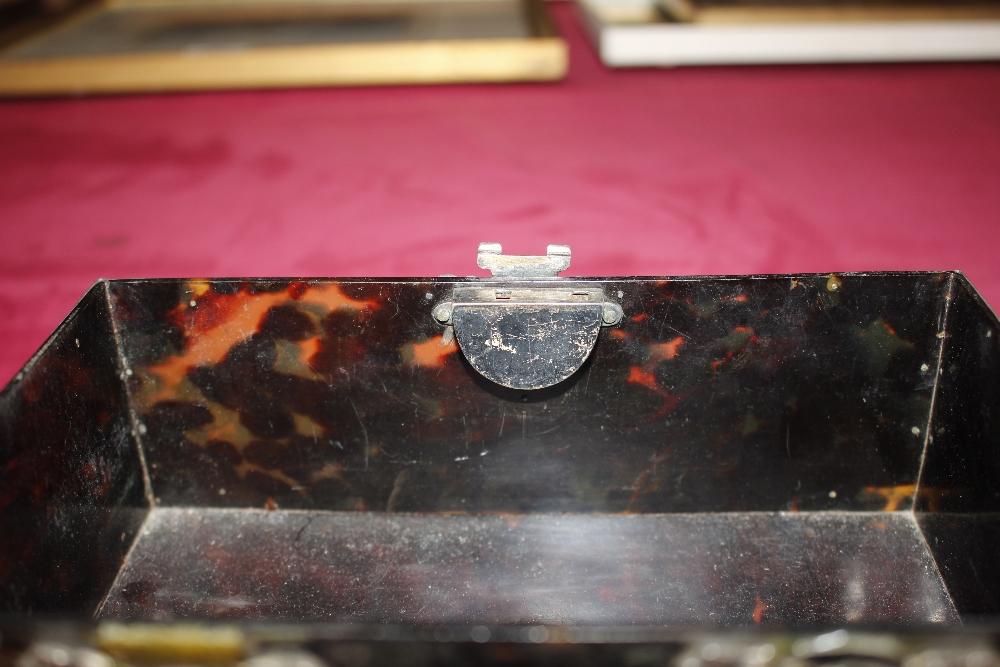 A 19th Century tortoiseshell and white metal mounted trinket casket,having pierced foliate and - Image 10 of 19