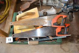 Quantity of builders hand tools.