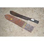 A WW2 period machete in scabbard