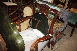 A mahogany Chippendale style elbow chair, inscribe